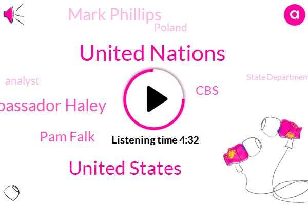 United Nations,United States,Embassador Haley,Pam Falk,CBS,Mark Phillips,Poland,Analyst,State Department,President Trump,Washington,Israel,Yemen,Steve,Fox News,London