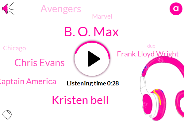 B. O. Max,Kristen Bell,Chris Evans,Captain America,Frank Lloyd Wright,Avengers,Marvel,Chicago