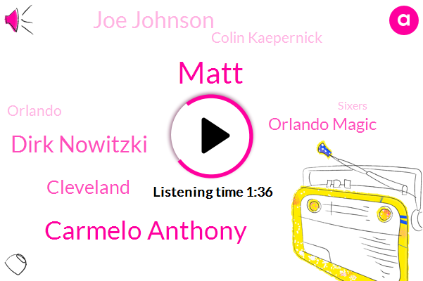 Matt,Carmelo Anthony,Dirk Nowitzki,Cleveland,Orlando Magic,Joe Johnson,Colin Kaepernick,Orlando,Sixers,Stephen