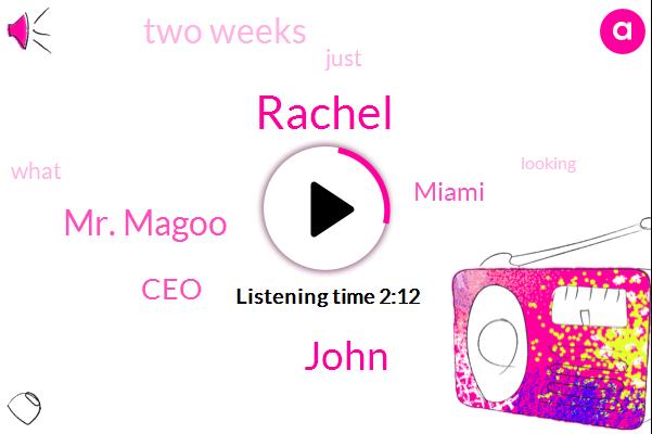 Rachel,John,Mr. Magoo,CEO,Miami,Two Weeks