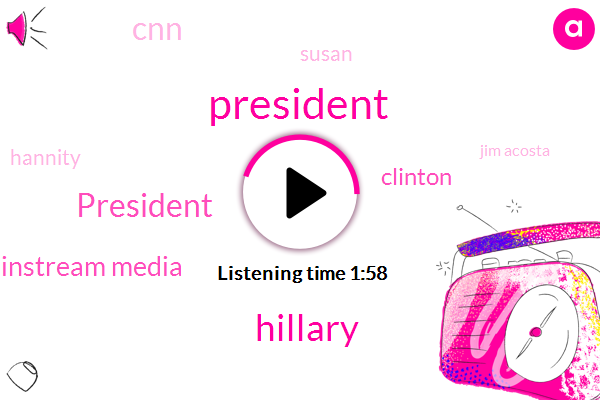 President Trump,Hillary,Mainstream Media,Clinton,CNN,Susan,Hannity,Jim Acosta,Barack Hussein Obama,Curry,First Amendment,Jammeh,Costas Cnn,Stephen Miller,Million Years