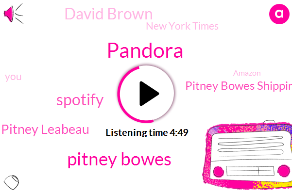 Pandora,Pitney Bowes,Spotify,Pitney Leabeau,Pitney Bowes Shipping,David Brown,New York Times,Amazon,Google,Alexa,Mary,Apple,Four Dollars,Thirty Days,Ten Pound,Twenty Percent