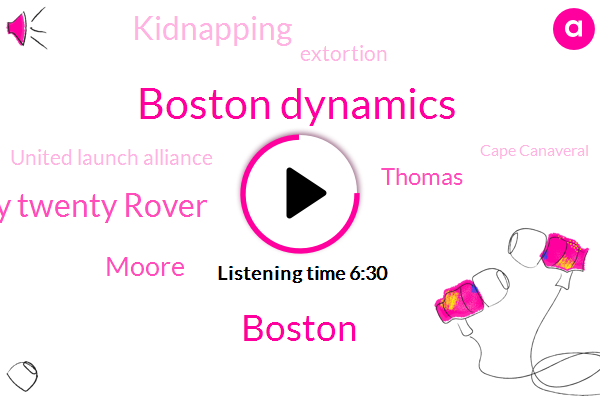 Boston Dynamics,Boston,Twenty Twenty Rover,Moore,Thomas,Kidnapping,Extortion,United Launch Alliance,Cape Canaveral,Ubisoft,Nasa,NCC,Nasr,Garcia,Bridgeport,Israel