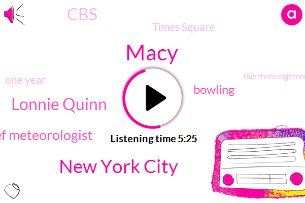 Macy,New York City,Lonnie Quinn,Chief Meteorologist,Bowling,CBS,Times Square,One Year,Five Three Eighteen Years,Ten Minutes