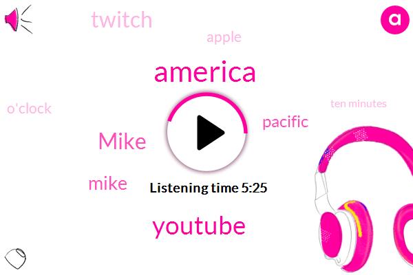 America,Youtube,Mike,Pacific,Twitch,Apple,O'clock,Ten Minutes,Eastern Eleven,Michigan,Australian,Roku,Karcher