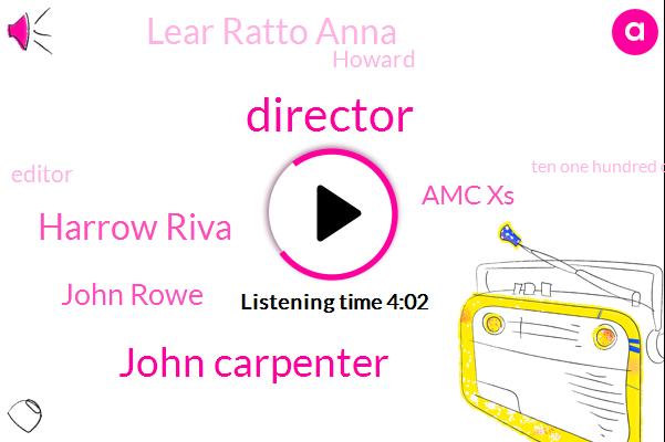 Director,John Carpenter,Harrow Riva,John Rowe,Amc Xs,Lear Ratto Anna,Howard,Editor,Ten One Hundred Dollars,Twenty Thirty Minutes,Fourteen Years,Hundred Dollar,Three Weeks,Three-Year