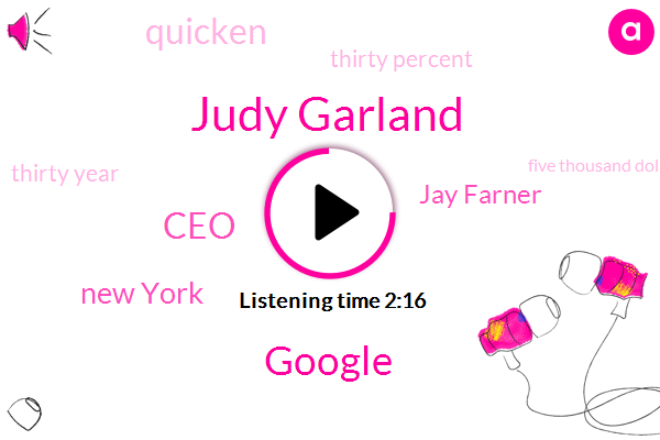 Judy Garland,Google,CEO,New York,Jay Farner,Quicken,Thirty Percent,Thirty Year,Five Thousand Dollars,One Two Five Percent,Twenty Five Percent,Two Two Percent