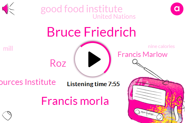 Bruce Friedrich,Francis Morla,ROZ,World Resources Institute,NPR,Francis Marlow,Good Food Institute,United Nations,Mill,Nine Calories,Five Percent,Fifty Years,One Calorie