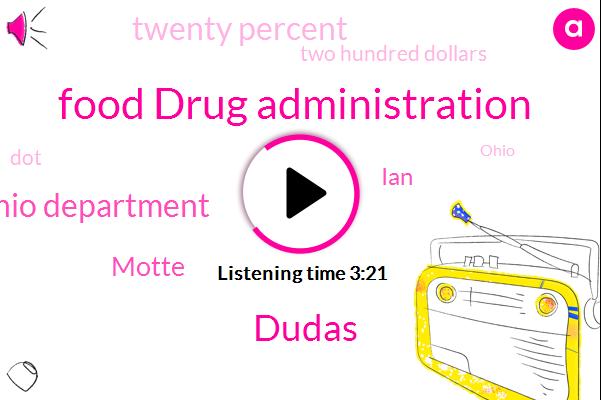 Food Drug Administration,Dudas,Ohio Department,Motte,IAN,Twenty Percent,Two Hundred Dollars