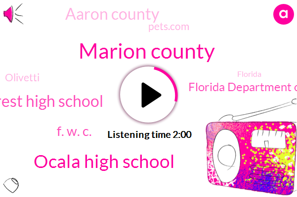 Marion County,Ocala High School,Forest High School,F. W. C.,Florida Department Of Health,Aaron County,Pets.Com,Olivetti,Florida,Heidi Mirror,Facebook,Superintendent,Twitter,Thirty One Years