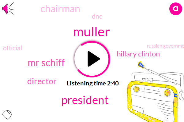 Muller,President Trump,Mr Schiff,Director,Hillary Clinton,Chairman,DNC,Official,Russian Government,Bill Clinton,Clinton Foundation,Adam Schiff,Hannity,Donald Trump