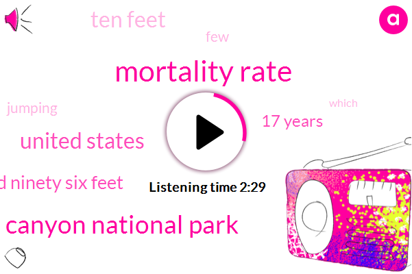 Mortality Rate,Grand Canyon National Park,United States,One Hundred Ninety Six Feet,17 Years,Ten Feet
