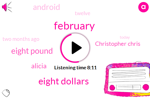 February,Eight Dollars,Eight Pound,Alicia,Christopher Chris,Android,Twelve,Two Months Ago,Today,Ipod,One Thing,Two Thousand,Friday,Ninety Nine A Month,Disney,iPhone,ADA,Twins,Jamie,Five