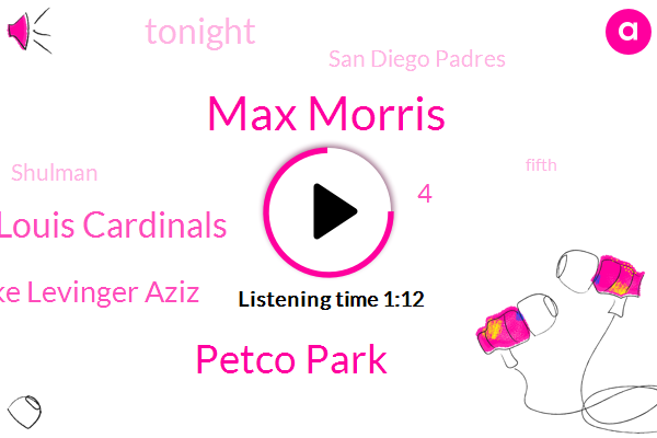 Max Morris,Petco Park,St Louis Cardinals,Mike Levinger Aziz,4,Tonight,San Diego Padres,Shulman,Fifth,2,Last Year,32 Innings,Padres,Two Innings,12 Starts,Three Times,Nelson Lament,Lament,This Year,TWO