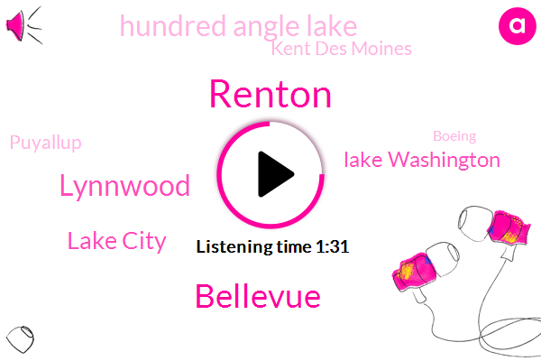 Renton,Bellevue,Lynnwood,Lake City,Lake Washington,Hundred Angle Lake,Kent Des Moines,Puyallup,Boeing,Marysville,Maple Valley,Seattle,Sumner,Algana,Forty Seven Minutes,Twelve Minutes,Forty Minutes,Ten Minutes