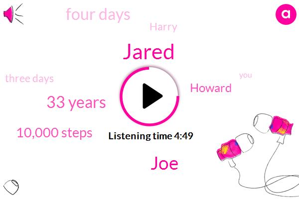Jared,33 Years,JOE,10,000 Steps,Howard,Four Days,Harry,Three Days,57,Bohemian,An Hour And A Half,60,Jane,One Racer,45 Years Old,16,Trailed,Washington,Last Night,Q.