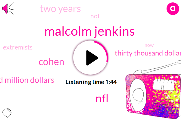 Malcolm Jenkins,NFL,Cohen,One Hundred Million Dollars,Thirty Thousand Dollar,Two Years