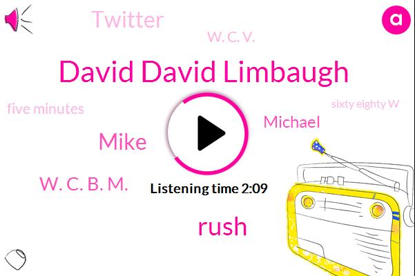 David David Limbaugh,Rush,Mike,W. C. B. M.,Michael,Twitter,W. C. V.,Five Minutes,Sixty Eighty W,One Day