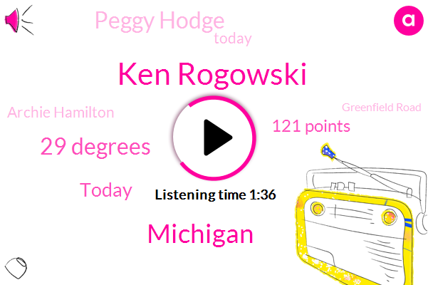 Ken Rogowski,Michigan,29 Degrees,Today,121 Points,Peggy Hodge,Archie Hamilton,Greenfield Road,Friday,Tonight,Wall Street,Thursday,Jeffries,Seven Mile,Two Men,Grand River Schaefer,Both Directions,50,Later This Week