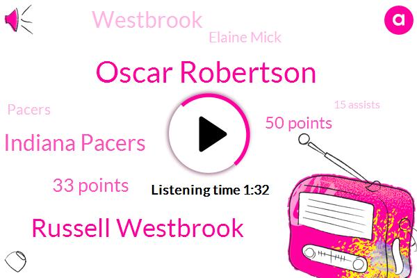 Oscar Robertson,Russell Westbrook,Indiana Pacers,33 Points,50 Points,Elaine Mick,Pacers,Westbrook,15 Assists,Scott Brooks,Brooks,19 Rebounds,Washington Wizards,Yankees,3,Chris,4,Christiane,Bronx,Ninth Place