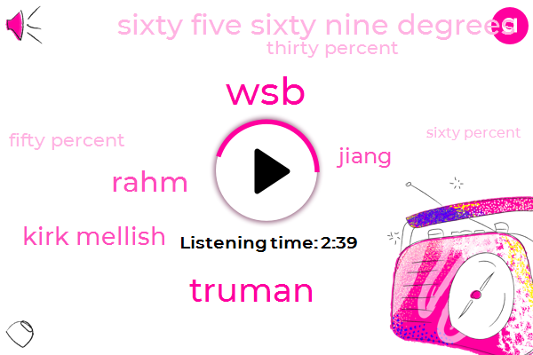 Truman,Rahm,WSB,Kirk Mellish,Jiang,Sixty Five Sixty Nine Degrees,Thirty Percent,Fifty Percent,Sixty Percent