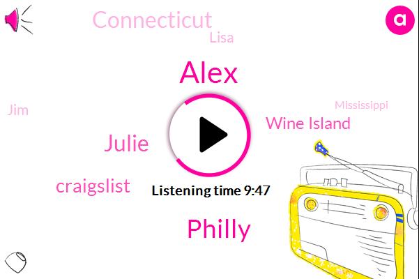 Alex,Philly,Julie,Craigslist,Wine Island,Connecticut,Lisa,JIM,Mississippi