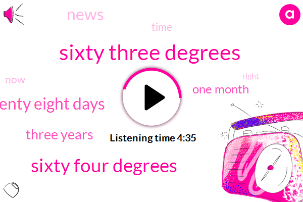 Sixty Three Degrees,Sixty Four Degrees,Twenty Eight Days,Three Years,One Month