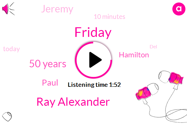 Friday,Ray Alexander,50 Years,Paul,Hamilton,Jeremy,10 Minutes,Today,DEL,First One,About 20 Minutes,First,8885 52 5 50 W,5 50,15,8,Howards,8 15,803 Old,15 Work