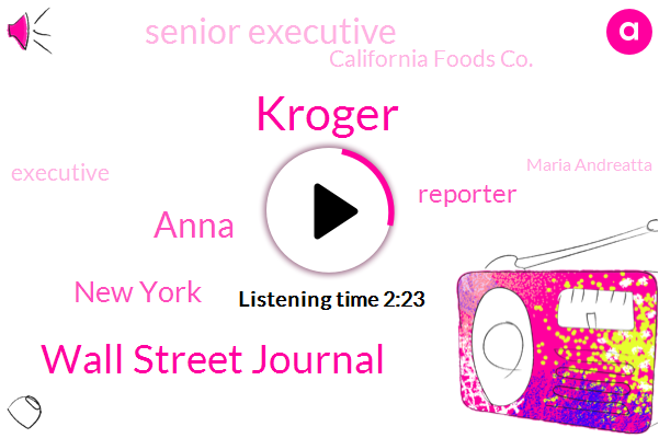 Kroger,Wall Street Journal,Anna,New York,Reporter,Senior Executive,California Foods Co.,Executive,Maria Andreatta