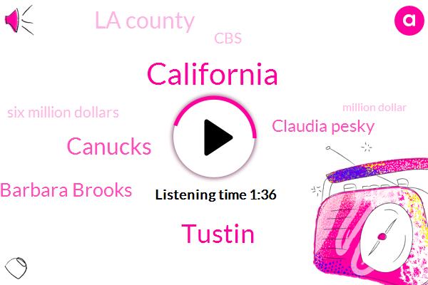 California,Tustin,Canucks,Barbara Brooks,Claudia Pesky,La County,CBS,Six Million Dollars,Million Dollar