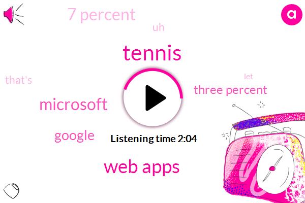 Windows,Tennis,Web Apps,Microsoft,Google,Three Percent,7 Percent