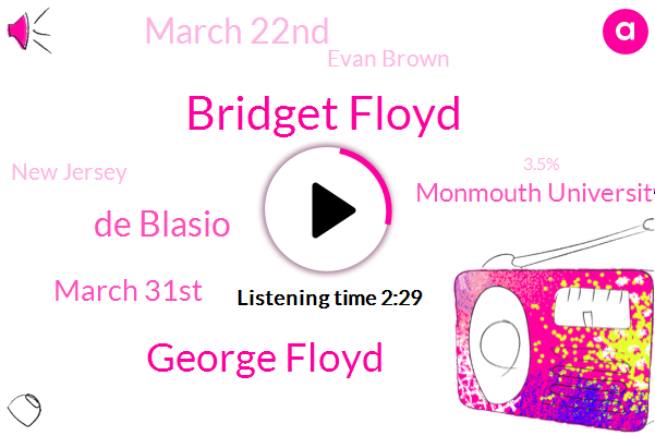 Bridget Floyd,George Floyd,De Blasio,March 31St,Monmouth University,March 22Nd,Evan Brown,New Jersey,3.5%,60,Chopin,Two Weeks,Fox News,Democrats,Two Cats,Last Week Of February,Republican,6%,10 Years Old,York City