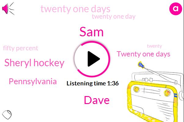 Dave,SAM,Sheryl Hockey,Pennsylvania,Twenty One Days,Twenty One Day,Fifty Percent