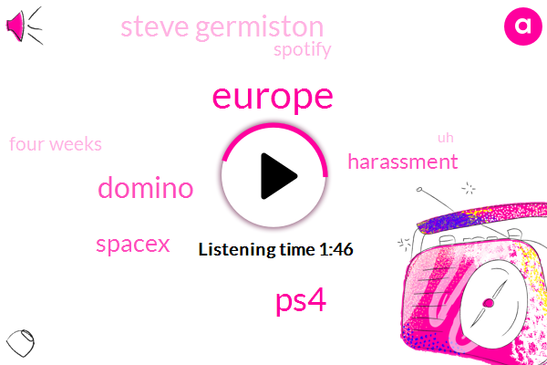 Europe,PS4,Domino,Spacex,Harassment,Steve Germiston,Spotify,Four Weeks