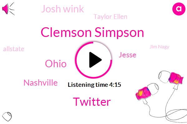 Clemson Simpson,Twitter,Ohio,Nashville,Jesse,Josh Wink,Taylor Ellen,Allstate,Jim Nagy,Clemson,Colorado,LSU,Jaquith,Florida,Atwood,Penney,Producer,SEC,Oklahoma
