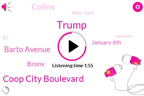 Donald Trump,Coop City Boulevard,Barto Avenue,Bronx,January 6Th,Collins,New York,37,Lieberman,TWO,Yesterday,Tonight,One Person,Senate,Two Passengers,20 Year Old,President Trump,State Department Of Health,Susan Collins,United States