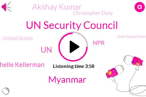 Un Security Council,Myanmar,UN,Michelle Kellerman,Akshay Kumar,NPR,Christopher Doty,United States,State Department,San Francisco,Ari Shapiro,Elsa Chang,Sacramento,Rohingya,Nobel Prize,China,Treasury Department,Daniel Sullivan,Rediker Kumarisami