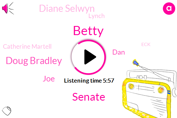 Betty,Senate,Doug Bradley,JOE,DAN,Diane Selwyn,Lynch,Catherine Martell,ECK,Danaher
