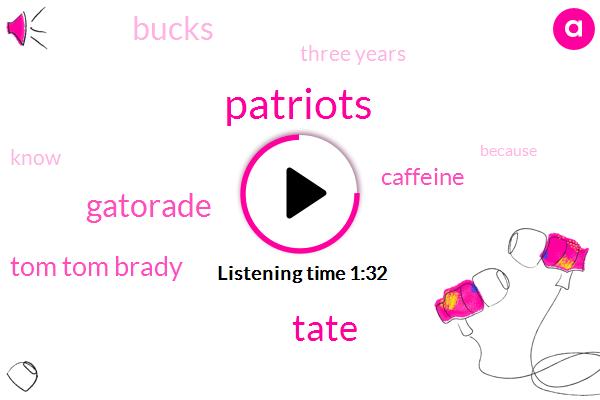 Patriots,Tate,Gatorade,Tom Tom Brady,Caffeine,Bucks,Three Years