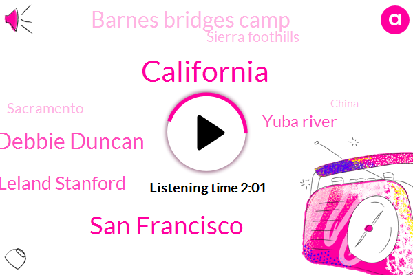 California,San Francisco,Debbie Duncan,Leland Stanford,Yuba River,Barnes Bridges Camp,Sierra Foothills,Sacramento,China,Forty Nine Inches,Twenty Two Inches,Two Hundred Years,Forty Five Days,Three Months,Ten Feet