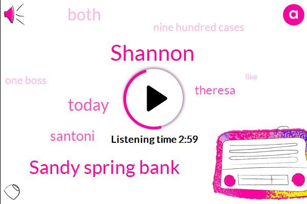 Shannon,Sandy Spring Bank,Today,Santoni,Theresa,Both,Nine Hundred Cases,ONE,One Boss