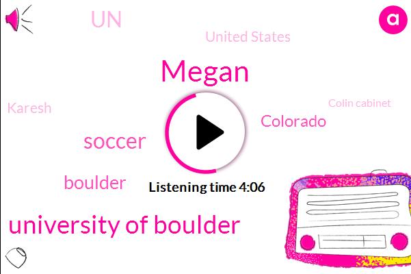 Megan,University Of Boulder,Soccer,Boulder,Colorado,UN,United States,Karesh,Colin Cabinet,University Of Colorado,ROB,Goldman,United Nations