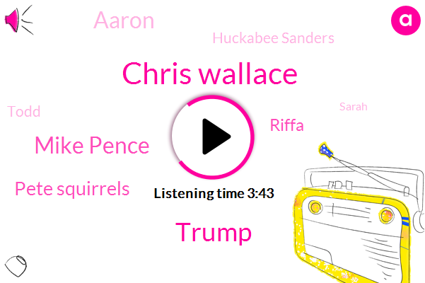Chris Wallace,Donald Trump,Mike Pence,Pete Squirrels,Riffa,Aaron,Huckabee Sanders,Todd,Sarah