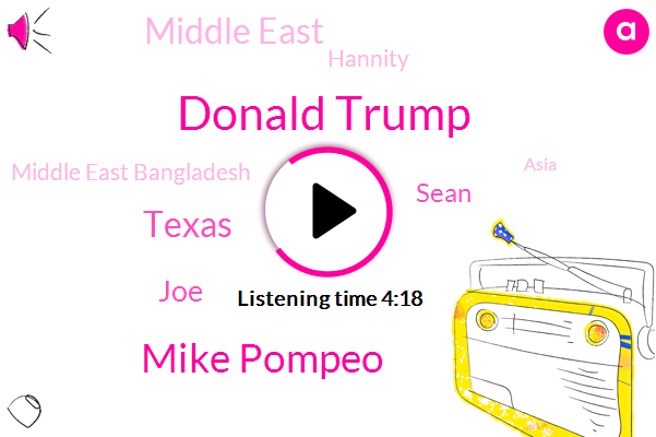 Donald Trump,Mike Pompeo,Texas,FOX,JOE,Sean,Middle East,Hannity,Middle East Bangladesh,Asia,Costa Rica,Lebanon,Mika Brzezinski,Don Imus,South America,Meco,United States,Google