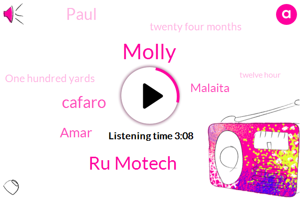 Molly,Ru Motech,Cafaro,Amar,Malaita,Paul,Twenty Four Months,One Hundred Yards,Twelve Hour,Eight Inch,One Inch
