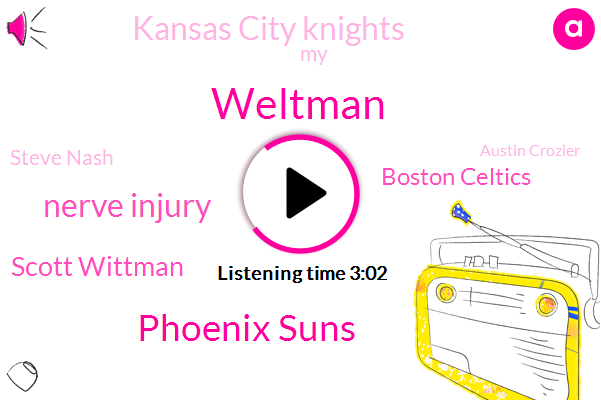 Weltman,Phoenix Suns,Nerve Injury,Scott Wittman,Boston Celtics,Kansas City Knights,Steve Nash,Austin Crozier,Mangla,NBA,Spain,Bulls,Phoenix,Tennis,Paul,Basketball,Football,Six Weeks,Two Years,One Year
