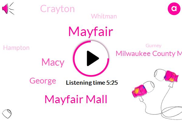 Mayfair Mall,Macy,Mayfair,George,Milwaukee County Medical Examiner,Crayton,Whitman,Hampton,Gurney