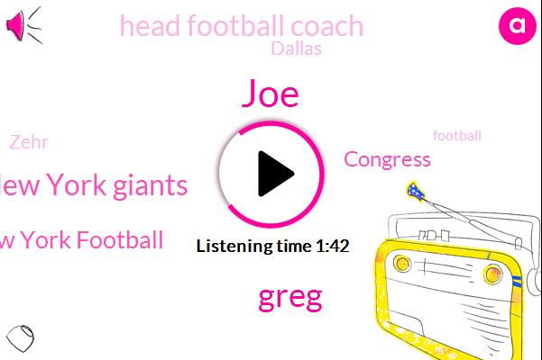 Head Football Coach,New York Giants,Football,New York Football,JOE,Dallas,Zehr,Greg,Baseball,Congress