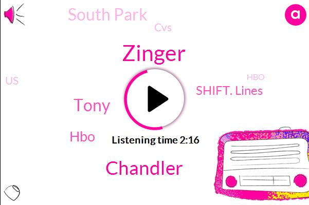 HBO,Zinger,United States,Shift. Lines,South Park,Chandler,Tony,CVS