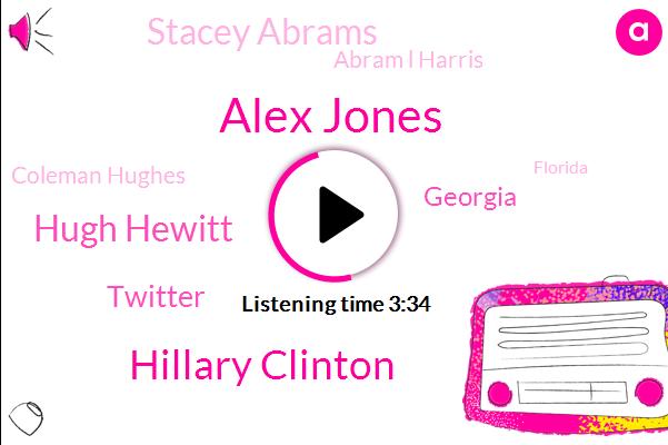 Alex Jones,Hillary Clinton,Hugh Hewitt,Twitter,Georgia,Stacey Abrams,Abram L Harris,Coleman Hughes,Florida